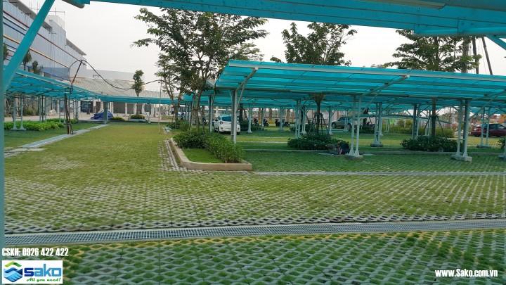 Gạch trồng cỏ làm bãi xe